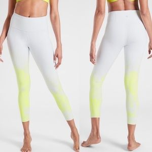 Athleta ombré lime green white  7/8 leggings Xs